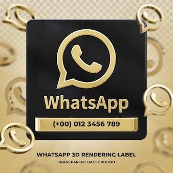 Perfil de ícone de banner na etiqueta de renderização 3d do whatsapp isolado