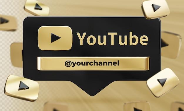 Perfil de ícone de banner na etiqueta de renderização 3d do youtube isolada