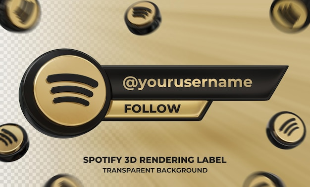 Perfil de ícone de banner na etiqueta de renderização 3d spotify isolada