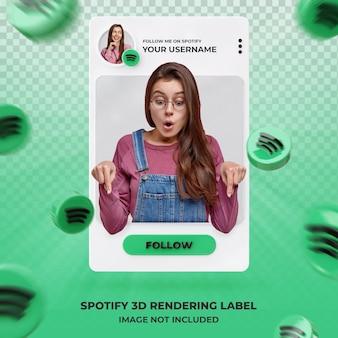 Perfil de ícone de banner no modelo de etiqueta de renderização 3d do spotify