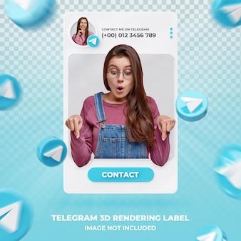 Perfil de ícone de banner no modelo de etiqueta de renderização 3d do telegram