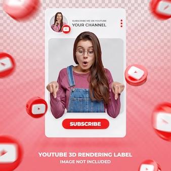 Perfil de ícone de banner no modelo de etiqueta de renderização 3d do youtube