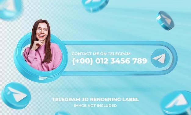 Perfil de ícone de banner no modelo de renderização 3d do telegram