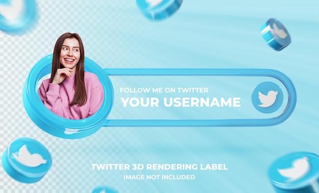 Perfil de ícone de banner no modelo de renderização 3d do twitter
