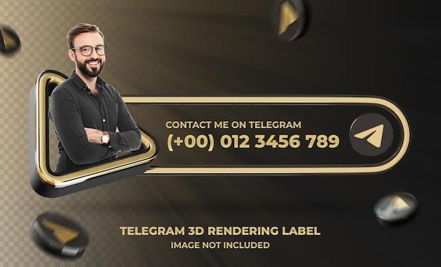 Perfil de ícone de banner no modelo de rótulo de renderização 3d do telegram