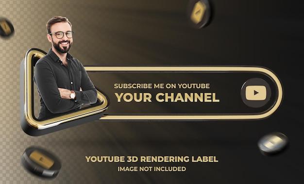 Perfil de ícone de banner no modelo de rótulo de renderização 3d do youtube