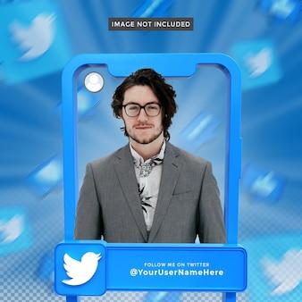Perfil de ícone de banner no quadro de renderização 3d do twitter