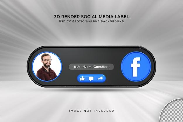 Perfil de ícone de banner no rótulo de renderização 3d de streaming ao vivo do facebook
