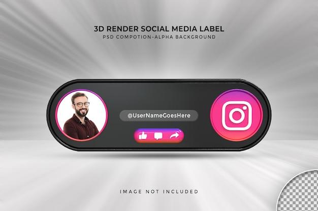 Perfil de ícone de banner no rótulo de renderização 3d de streaming ao vivo do instagram