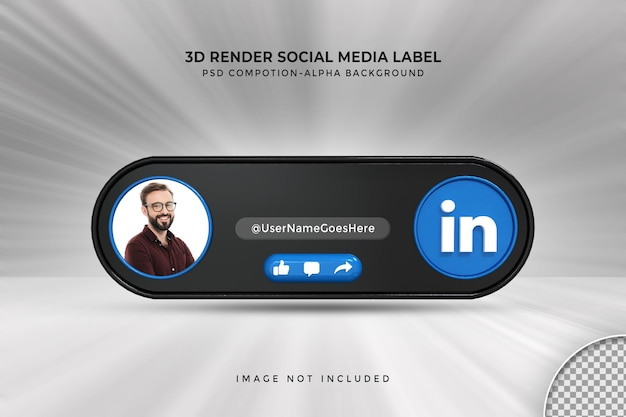 Perfil de ícone de banner no rótulo de renderização 3d de streaming ao vivo do linkedin