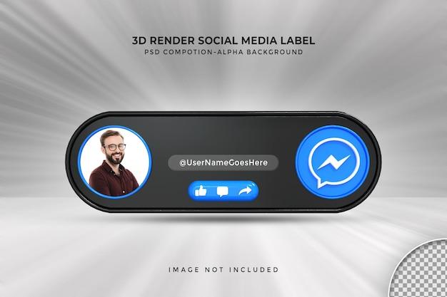 Perfil de ícone de banner no rótulo de renderização 3d de streaming ao vivo do messenger