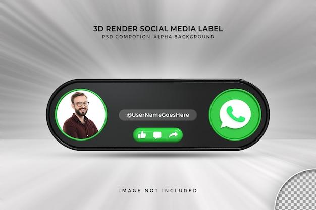 Perfil de ícone de banner no rótulo de renderização 3d de streaming ao vivo do whatsapp