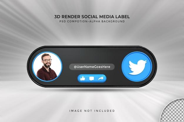 Perfil de ícone de banner no rótulo de renderização 3d de streaming ao vivo no twitter