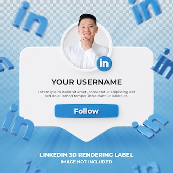Perfil de ícone de banner no rótulo de renderização 3d do linkedin isolado
