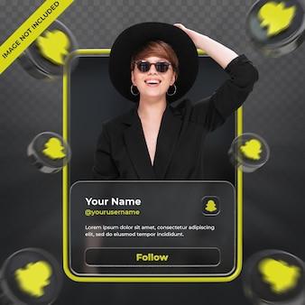 Perfil de ícone de banner no rótulo de renderização 3d do snapchat isolado