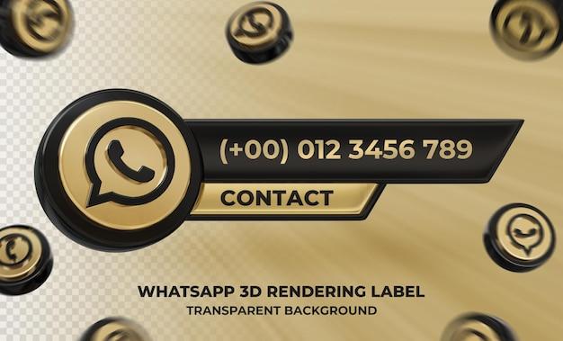 Perfil de ícone de banner no rótulo de renderização 3d do whatsapp isolado
