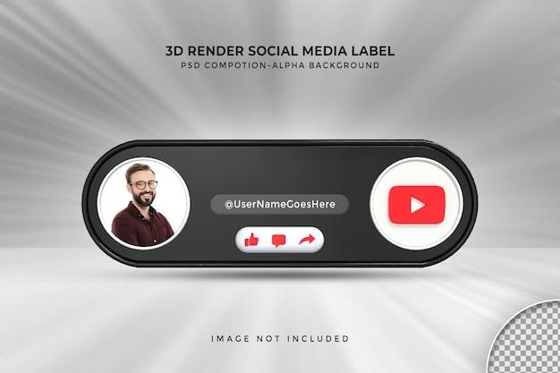 Perfil de ícone de banner no rótulo de renderização em 3d de streaming ao vivo do youtube