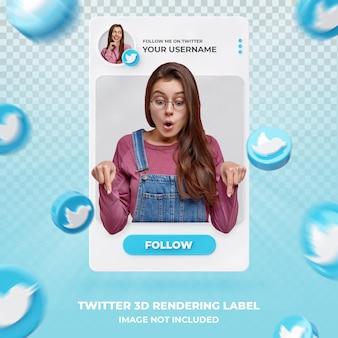 Perfil de ícone de banner no twitter modelo de etiqueta de renderização em 3d
