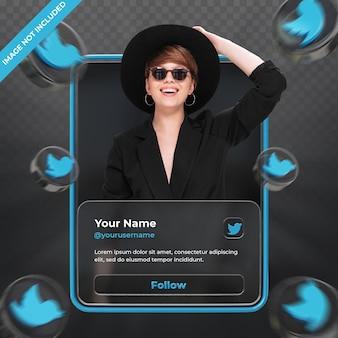 Perfil de ícone de banner no twitter rótulo de renderização 3d isolado