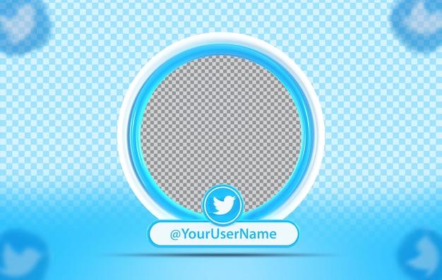 Perfil de maquete de conceito criativo com ícone twitte