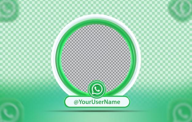Perfil de maquete do conceito criativo com ícone do whats app