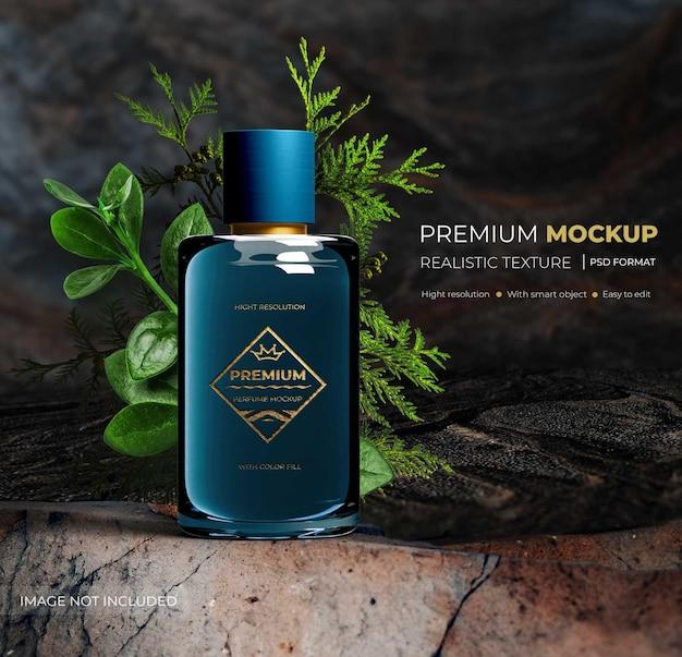 Perfume de garrafa de luxo realista de maquete