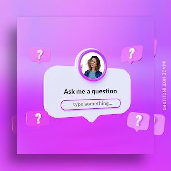 Pergunta de conceito criativo e tempo de resposta para modelo de post instagram de mídia social