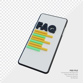 Perguntas frequentes com textos de smartphone e faq