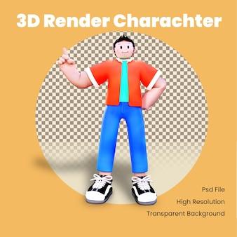 Personagem 3d apontando para cima