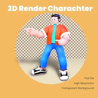 Personagem 3d apontando para todas as mãos