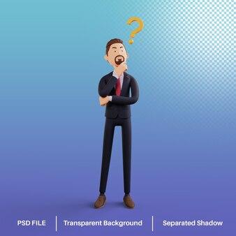 Personagem 3d bussiness man com pontos de interrogação premium psd