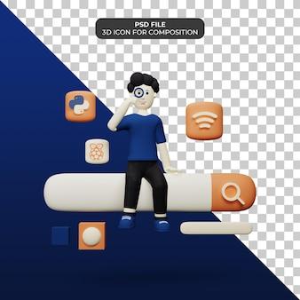 Personagem 3d com ilustração do ícone da barra de pesquisa psd
