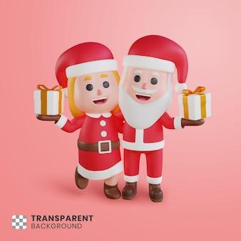 Personagem 3d do casal papai noel com sua caixa de presente