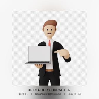Personagem 3d do homem apontando para cima do laptop