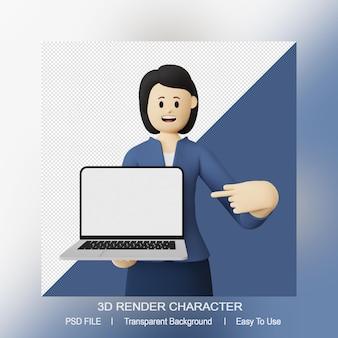 Personagem 3d feminina apontando para cima, laptop