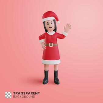 Personagem 3d feminina com fantasia de papai noel acenando com a mão levantada