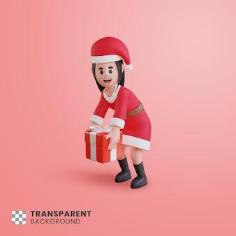 Personagem 3d feminina com fantasia de papai noel segurando uma caixa de presente