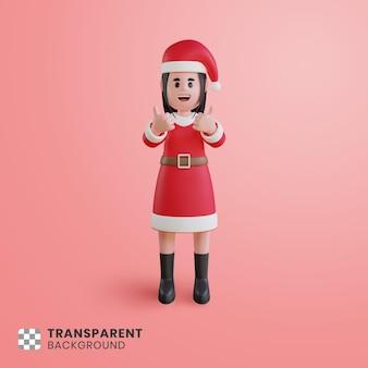 Personagem 3d feminina usando fantasia de papai noel com sinal de positivo