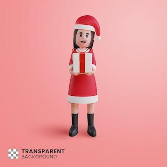 Personagem 3d feminina usando fantasia de papai noel com uma caixa de presente