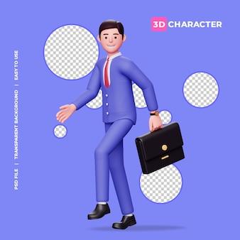 Personagem 3d masculina caminhando feliz com uma pasta
