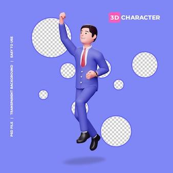 Personagem 3d masculina pula de felicidade com fundo transparente