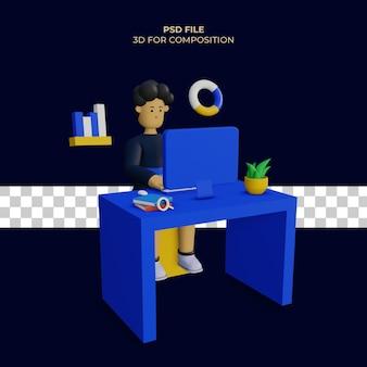 Personagem 3d na frente do computador e há um ícone de gráfico de pizza psd