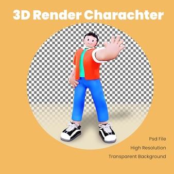 Personagem 3d parando pose