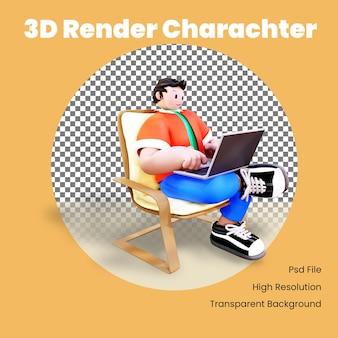 Personagem 3d usando laptop na cadeira