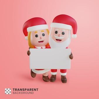 Personagem de casal 3d do papai noel com papel em branco