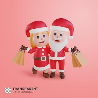 Personagem de casal 3d do papai noel, suas sacolas de compras