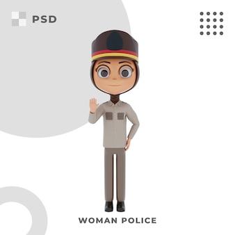 Personagem de desenho animado 3d de mulher policial com pose