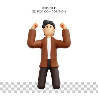 Personagem de desenho animado 3d pose feliz psd premium