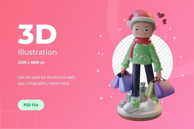 Personagem de ilustração 3d com lenço e chapéu natal usado para banner de infográfico de aplicativo da web etc.