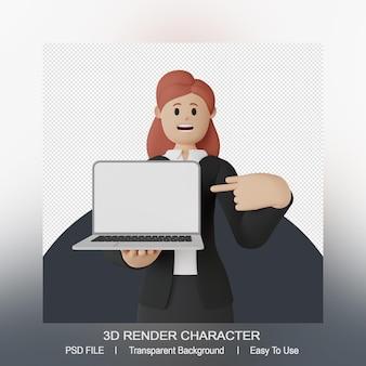 Personagem de mulher sorridente 3d apontando para laptop